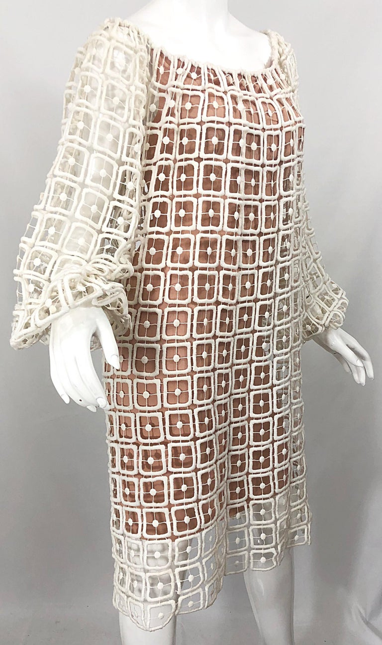 1960s Werle Beverly Hills Demi Couture Nude Ivory Silk Cotton 60s Vintage Dress For Sale 3