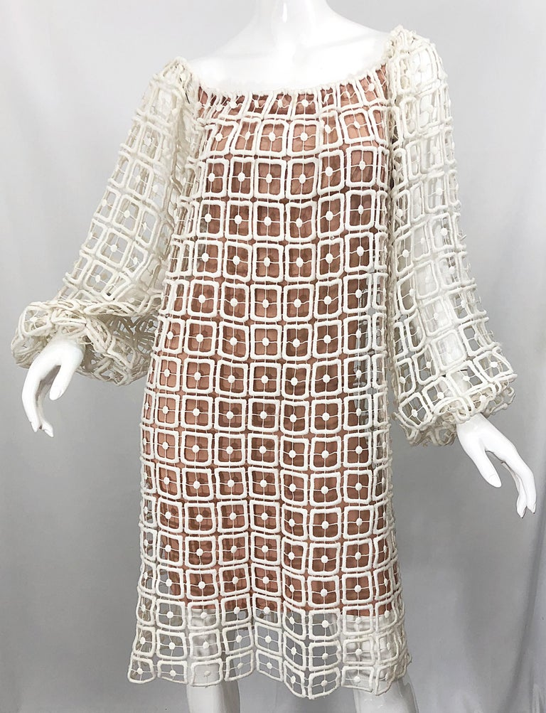1960s Werle Beverly Hills Demi Couture Nude Ivory Silk Cotton 60s Vintage Dress For Sale 4