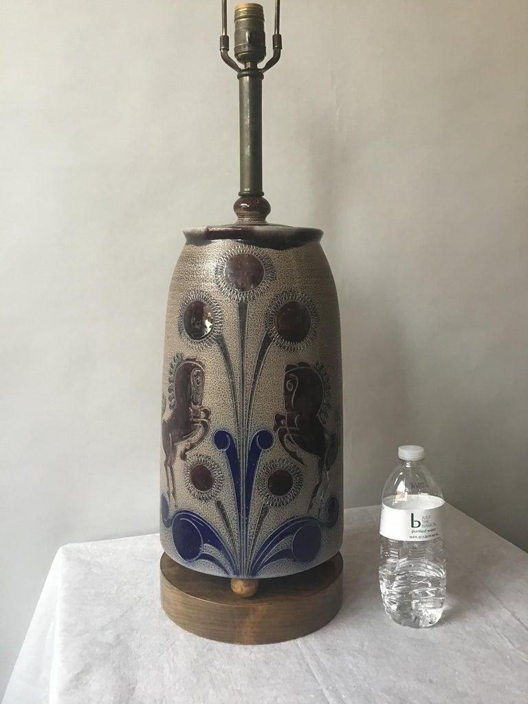 Mid-20th Century 1960s West German Ceramic Horse Lamp For Sale