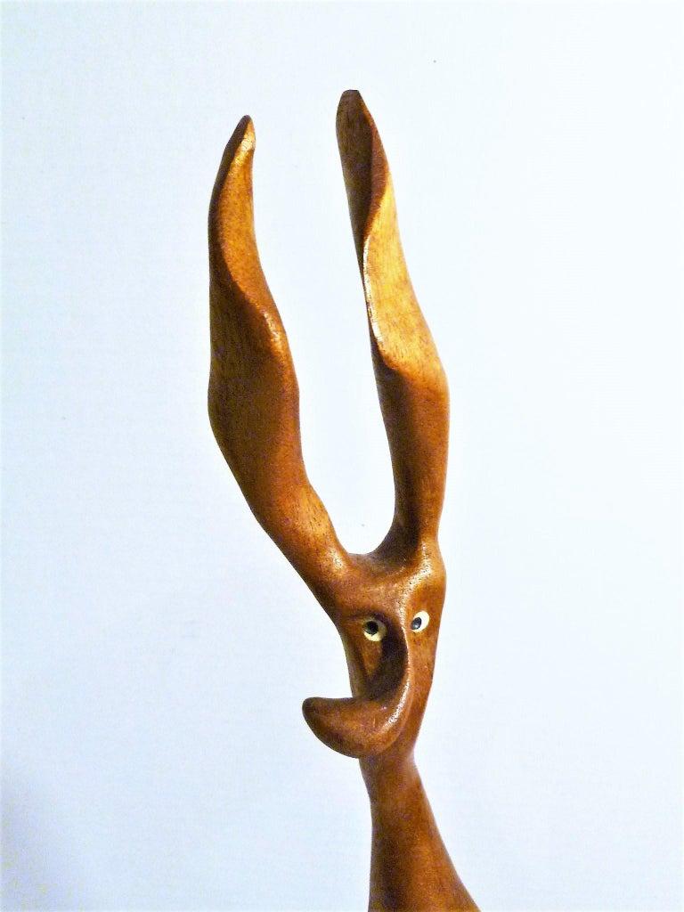 Teak 1960s Whimsical Carved Figure by Danish Wood Artist Knud Albert For Sale