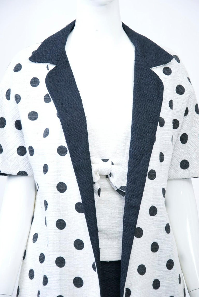 Gray 1960s White and Black Dress and Coat Ensemble For Sale