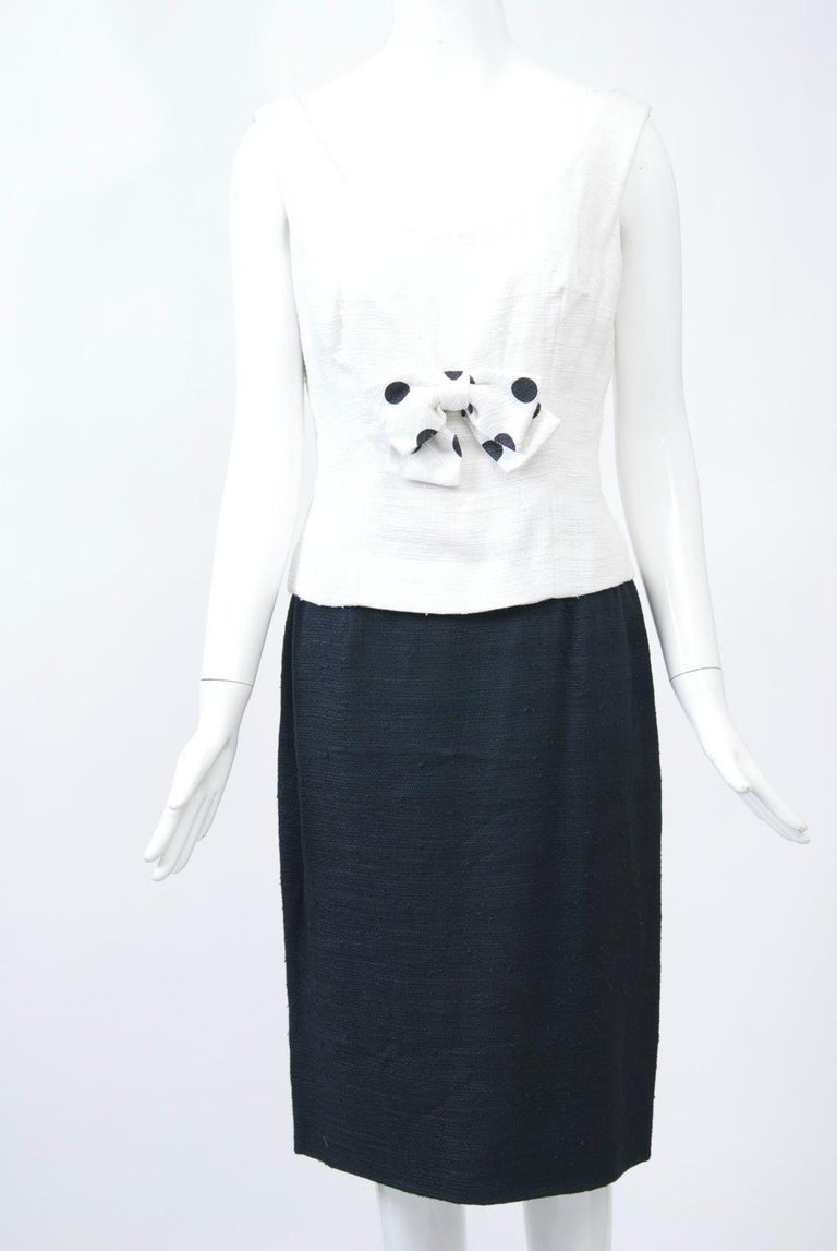 1960s White and Black Dress and Coat Ensemble For Sale 2