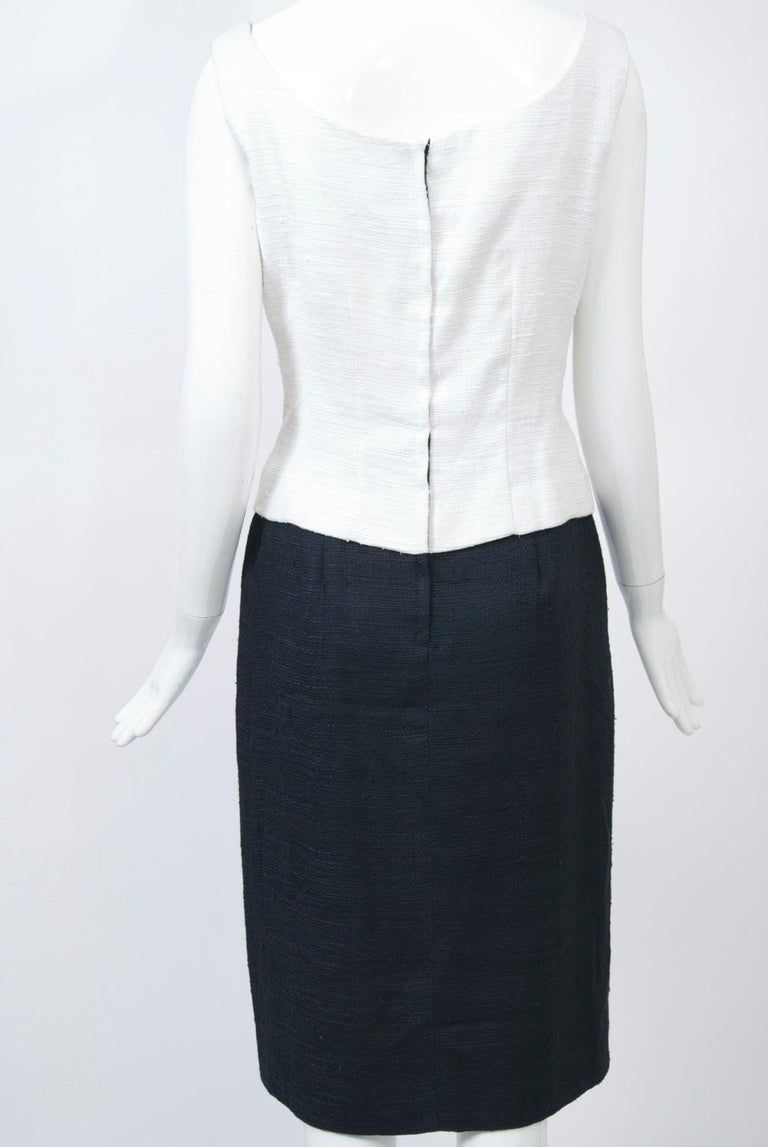 1960s White and Black Dress and Coat Ensemble For Sale 3