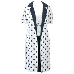 1960s White and Black Dress and Coat Ensemble