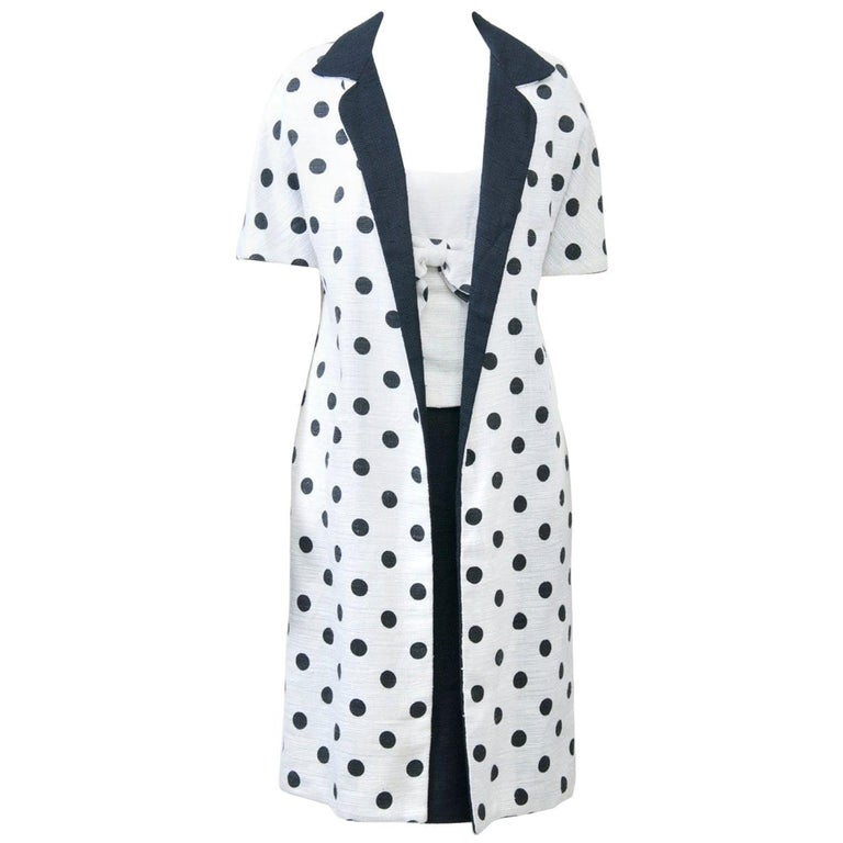 1960s White and Black Dress and Coat Ensemble For Sale