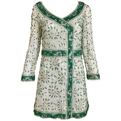 1960s White and Green  Beaded Mini Cocktail Dress