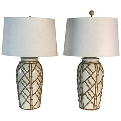 1960s White Bamboo Style Ceramic Table Lamps, Pair
