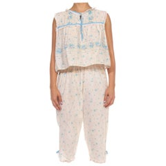 1960S White & Blue Cotton Little House On The Prairie Floral Pajamas