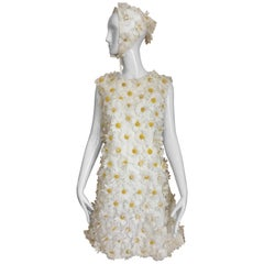 1960s White Daisy Appliqué Cotton Shift  Dress with Head Scarf
