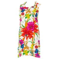 1960S White Floral Cotton Jacquard Sateen Mod Dress XL
