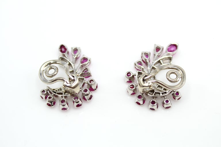 1960s White Gold Ruby Diamond Ear Clips In Excellent Condition For Sale In New York, NY