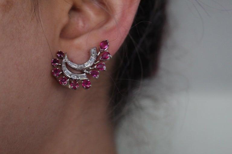 Women's or Men's 1960s White Gold Ruby Diamond Ear Clips For Sale
