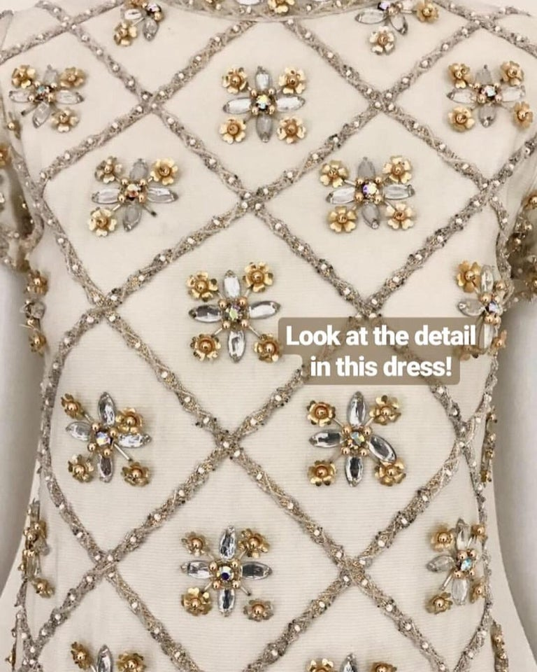 Women's 1960s White  Malcolm Starr Beaded Mini Party Dress For Sale