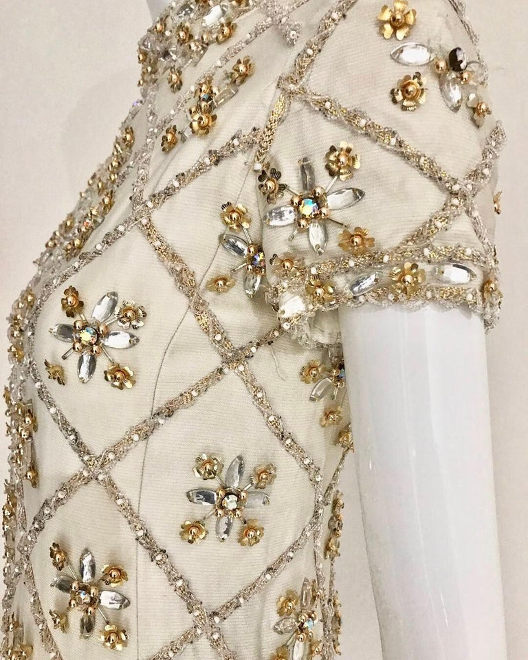 1960s White  Malcolm Starr Beaded Mini Party Dress For Sale 2
