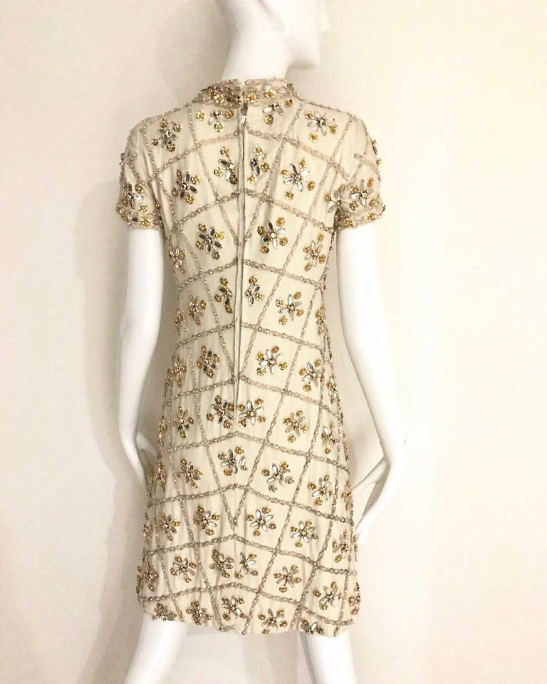 1960s White  Malcolm Starr Beaded Mini Party Dress For Sale 3