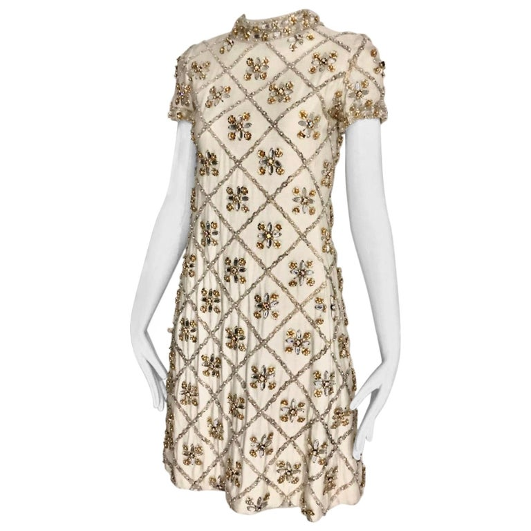 1960s White  Malcolm Starr Beaded Mini Party Dress For Sale
