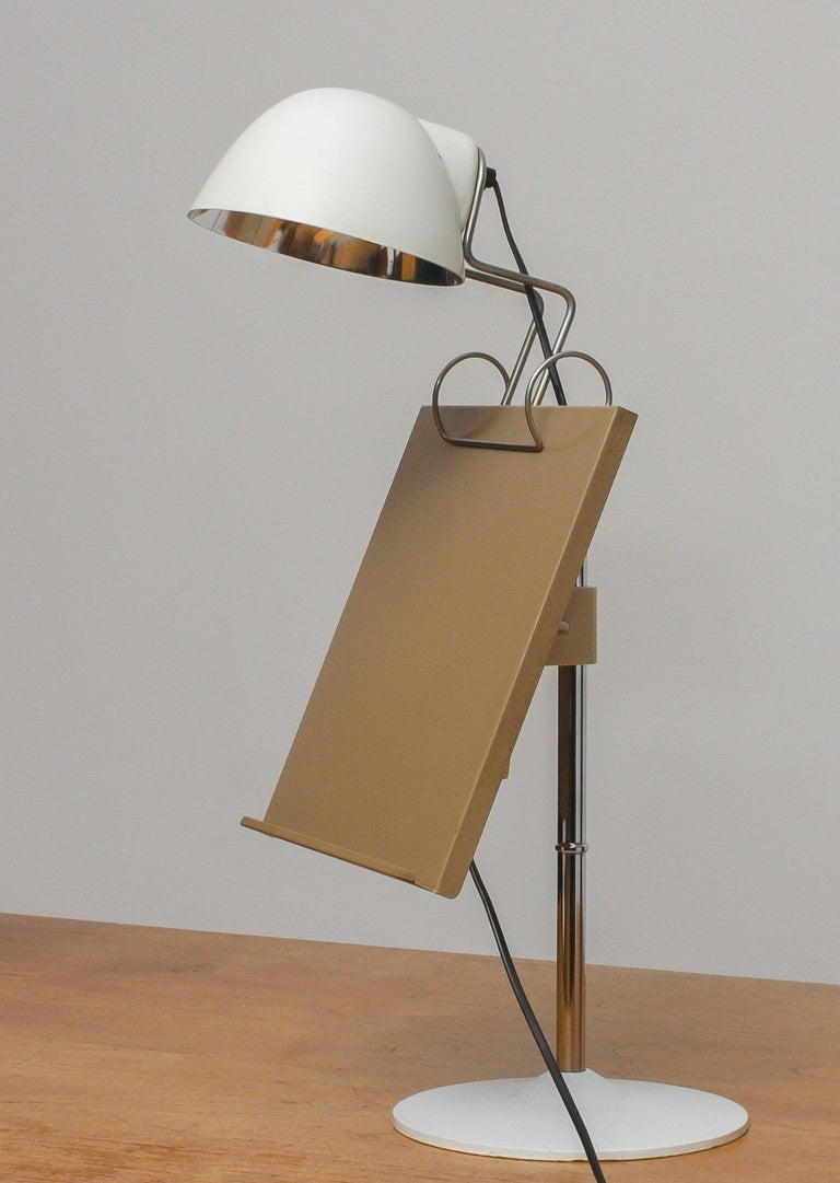 Mid-Century Modern 1960s White Table Lamp with Tablet or Book Stand by Falkenberg Belysning, Sweden
