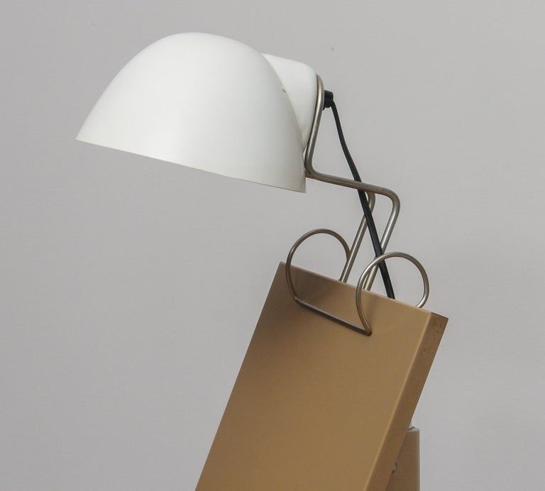 Swedish 1960s White Table Lamp with Tablet or Book Stand by Falkenberg Belysning, Sweden