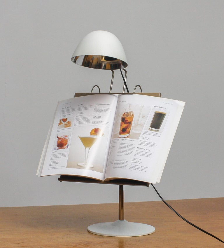 Mid-20th Century 1960s White Table Lamp with Tablet or Book Stand by Falkenberg Belysning, Sweden