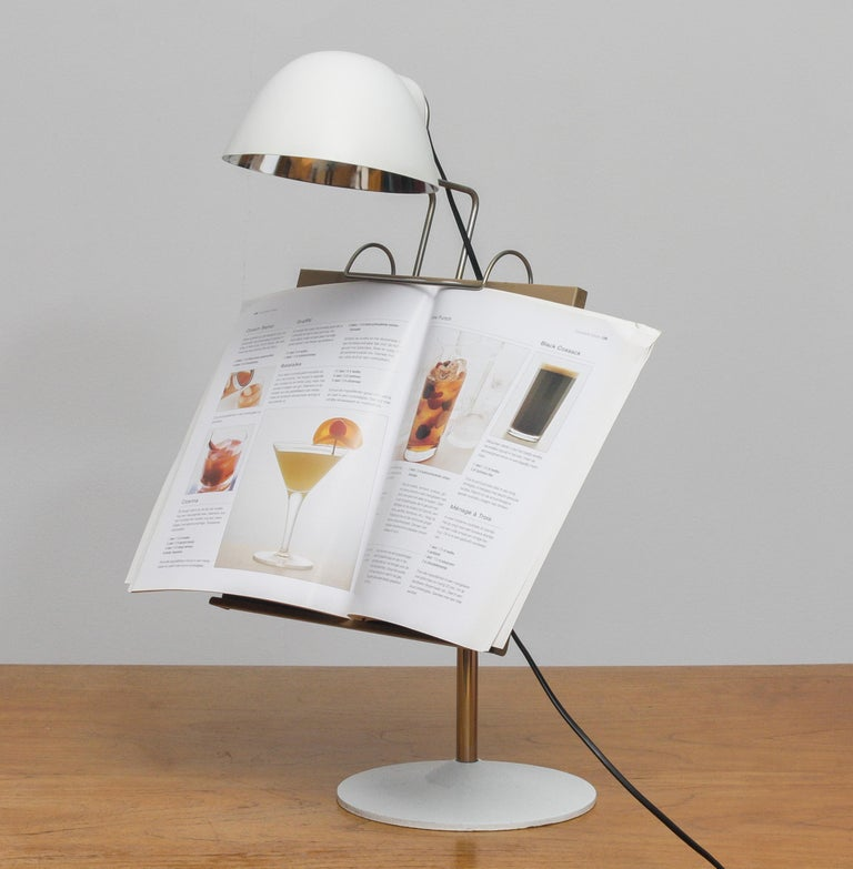 Metal 1960s White Table Lamp with Tablet or Book Stand by Falkenberg Belysning, Sweden