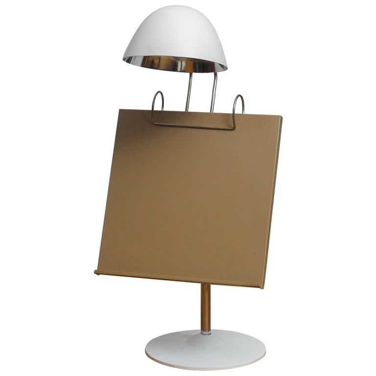 1960s White Table Lamp with Tablet or Book Stand by Falkenberg Belysning, Sweden