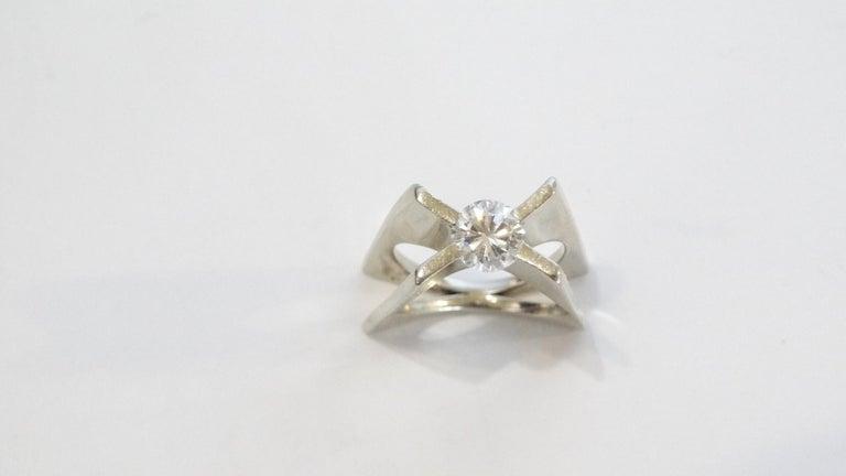 1960s Whitt for Georg Jensen 1 Carat Diamond Ring For Sale 5