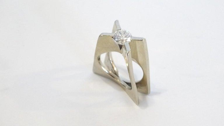 1960s Whitt for Georg Jensen 1 Carat Diamond Ring For Sale 6