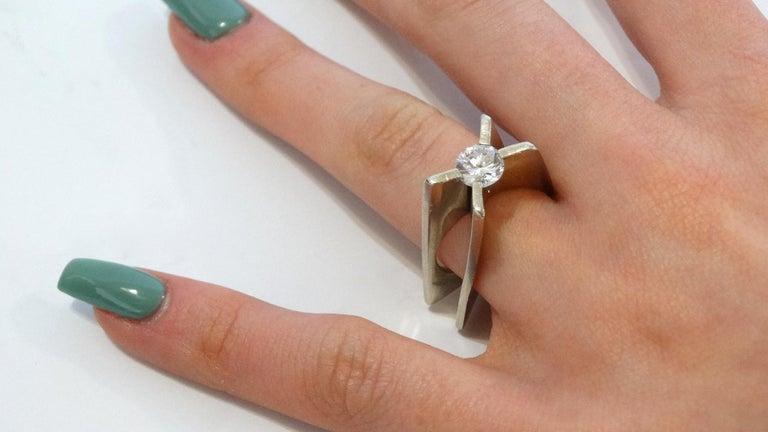 1960s Whitt for Georg Jensen 1 Carat Diamond Ring For Sale 12