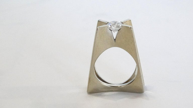 A wonderful Georg Jensen estate piece circa 1960s from the GJ store in NYC on 5th Ave. This ring is 1 ct Diamond, VS1, F color 14k white gold 10.85 total gram weight and a sz 5.5 the designer is George Whitt for Georg Jensen. We acquired this piece