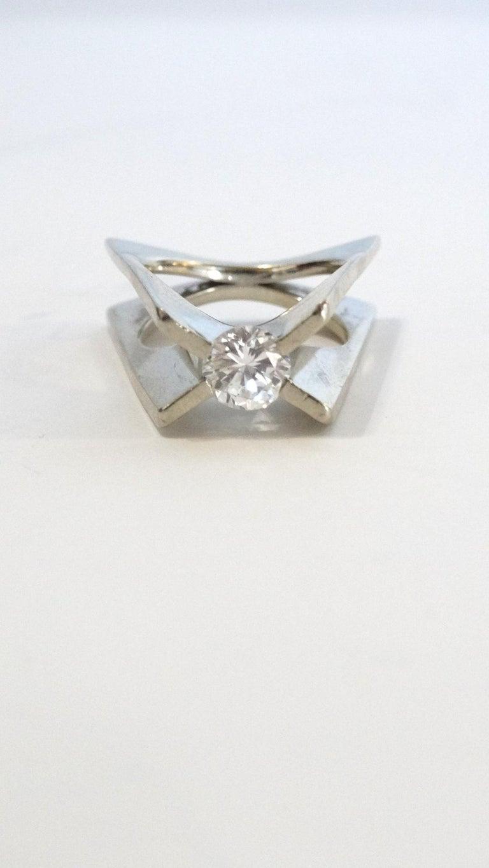 Contemporary 1960s Whitt for Georg Jensen 1 Carat Diamond Ring For Sale