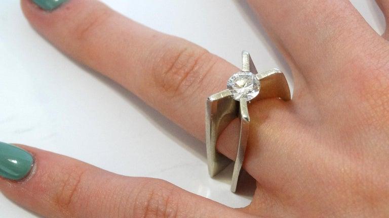 1960s Whitt for Georg Jensen 1 Carat Diamond Ring In Excellent Condition For Sale In Scottsdale, AZ
