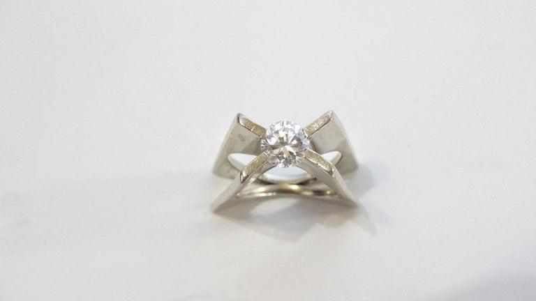 Women's 1960s Whitt for Georg Jensen 1 Carat Diamond Ring For Sale