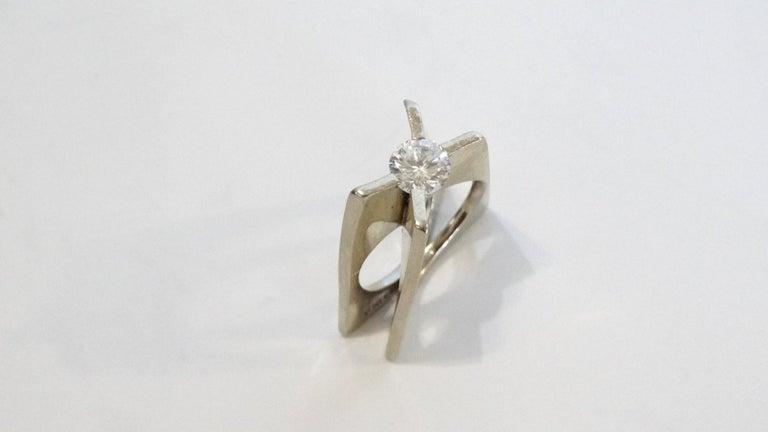 1960s Whitt for Georg Jensen 1 Carat Diamond Ring For Sale 4