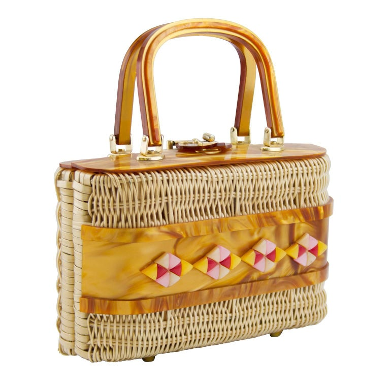 1960s Wicker and Lucite Basket Bag