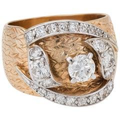 1960s Wide Band Diamond Ring Vintage 14 Karat Yellow Gold Estate Jewelry