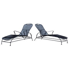 1960's Wire Mesh Outdoor Chaise Lounges
