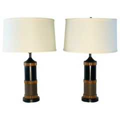 1960s Wood and Burlap Style Table Lamps, Pair