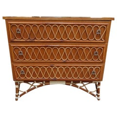 1960s Wood and Rattan Chest of Drawers, France