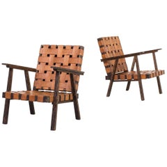 1960s Wood and Saddle Leather Fauteuil with Ottoman Set of 2