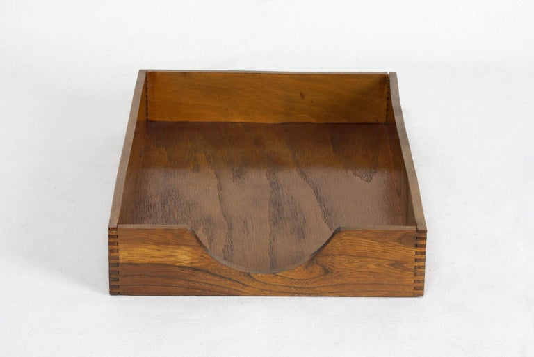 1960s retro wood letter tray by Hedges Files. Perfect for keeping your mail and memos in one tidy place. Beautiful finger joint detailing. Lovely patina, lightly clear-coated. Original tag: HEDGES FILES, THE LINE THAT MAKES THINGS EASY TO FIND,