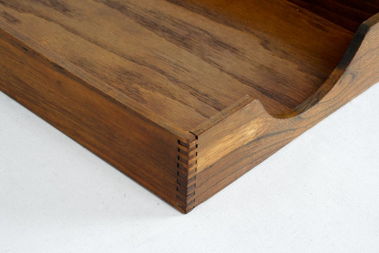 Mid-Century Modern 1960s Wood Desktop Letter Tray by Hedges Files For Sale