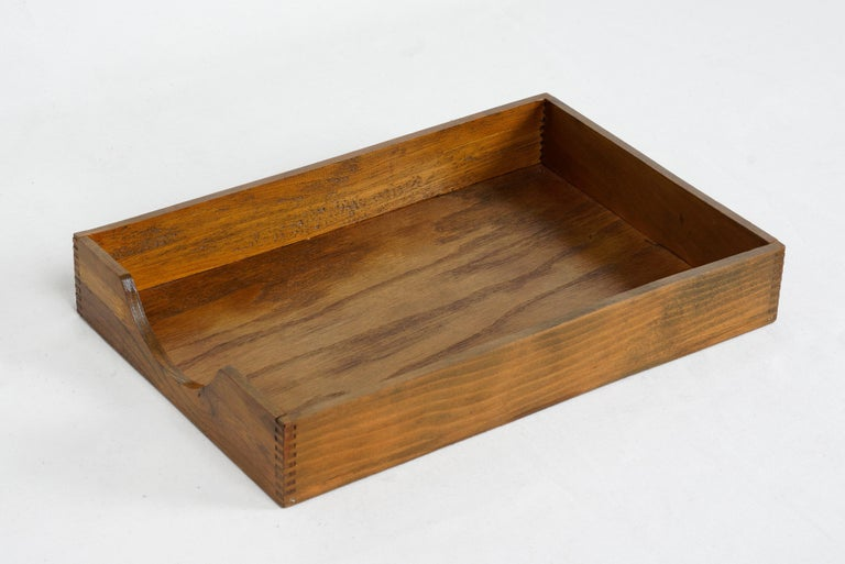 American 1960s Wood Desktop Letter Tray by Hedges Files For Sale