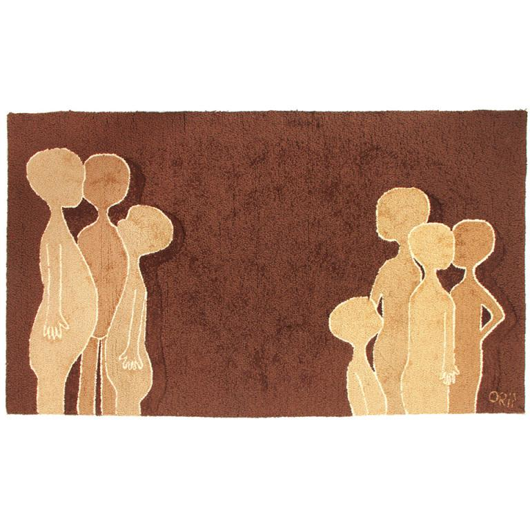 American 1960s Wool Hook Rug with Figures For Sale