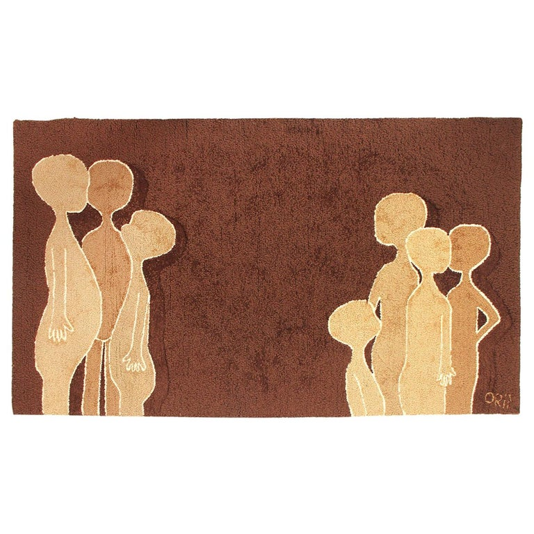 1960s Wool Hook Rug with Figures For Sale