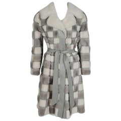 1960's Woolf Brothers Checkered Patchwork Mink-Fur Leather Belted Trench Coat