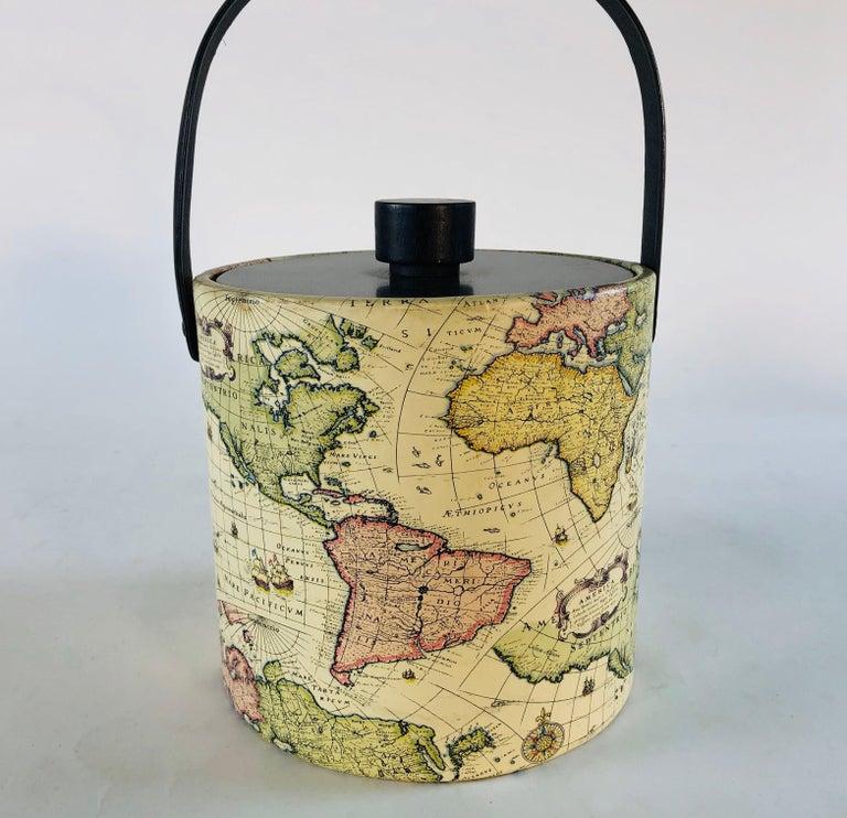 Mid-Century Modern 1960s World Globe Style Ice Bucket For Sale