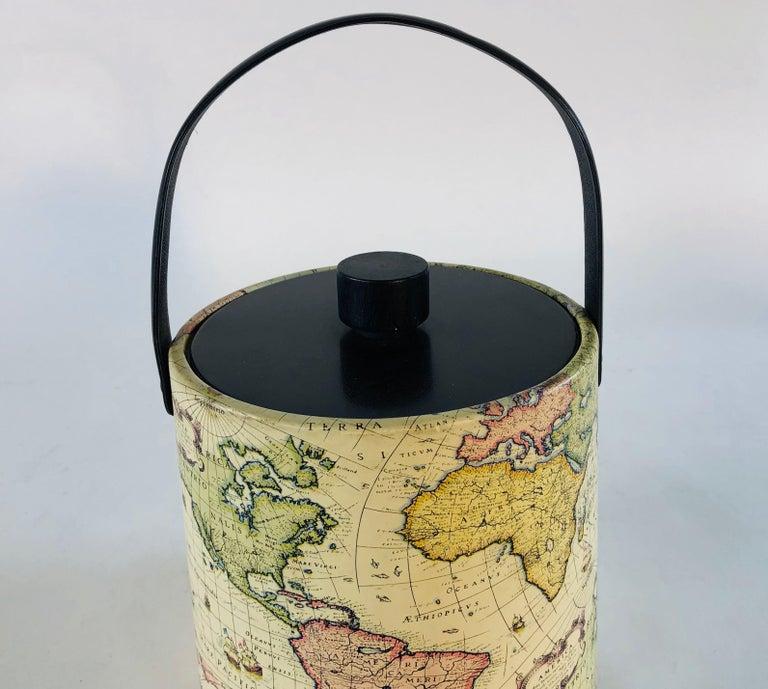 American 1960s World Globe Style Ice Bucket For Sale