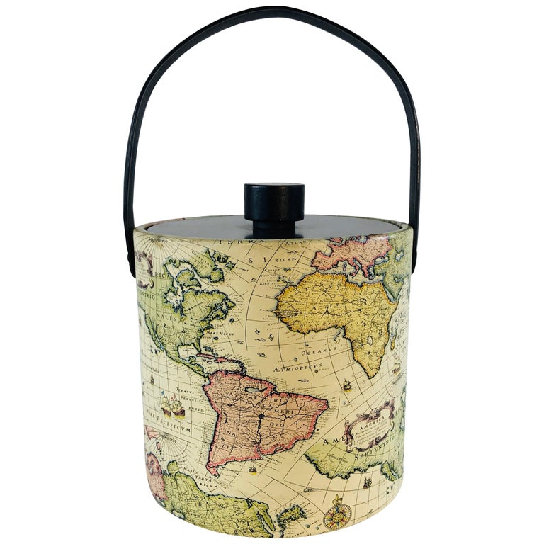 1960s World Globe Style Ice Bucket For Sale