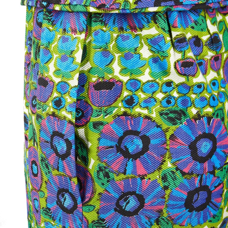1960s Worth Waffle Cotton Floral Print Dress In Excellent Condition For Sale In London, GB