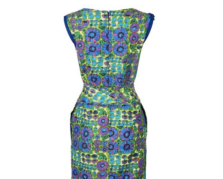 Women's 1960s Worth Waffle Cotton Floral Print Dress For Sale